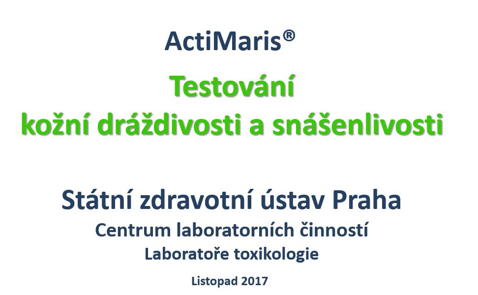 Štátny zdravotný ústav ČR testoval BEZPEČNOSŤ ActiMaris